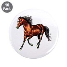 """Cantering Bay Horse 3.5"""" Button (10 pack)"""