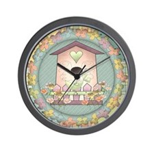 Country Pink Birdhouse Wall Clock