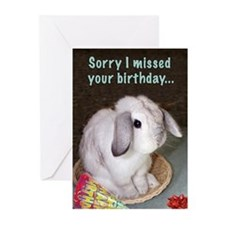 Bunny Belated Birthday Greeting Cards (Pk of 10)