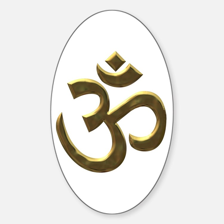 Golden Ohm & Buddha Quote Sticker (Oval)