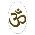 Golden Ohm & Buddha Quote Sticker (Oval 10 pk)