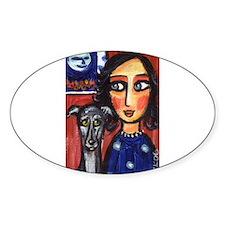 Greyhound lady folk art Oval Decal