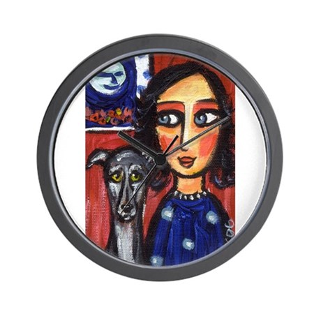 Greyhound lady folk art Wall Clock