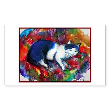 Cat, Bright, Colorful, Sticker (Rectangle 50 pk)