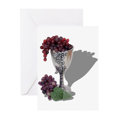 Wine Chalice Grapes Greeting Card