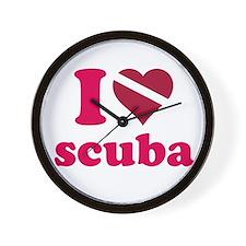 I heart scuba Wall Clock