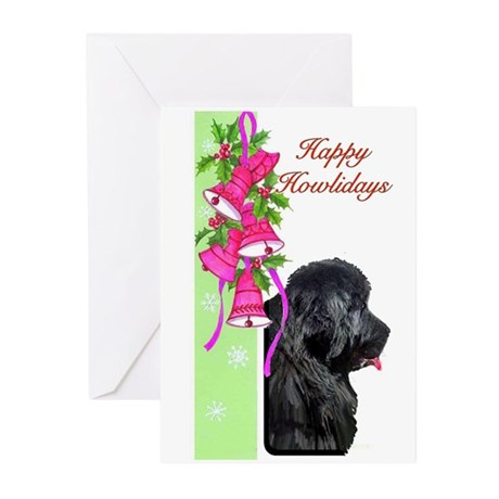 Newfoundland Dog Christmas Ca Greeting Cards (Pk o