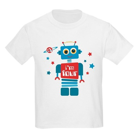 Robot 4th Birthday Kids Light T-Shirt