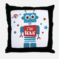 Robot 4th Birthday Throw Pillow