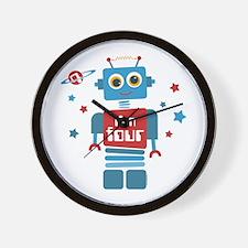 Robot 4th Birthday Wall Clock
