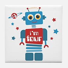 Robot 4th Birthday Tile Coaster