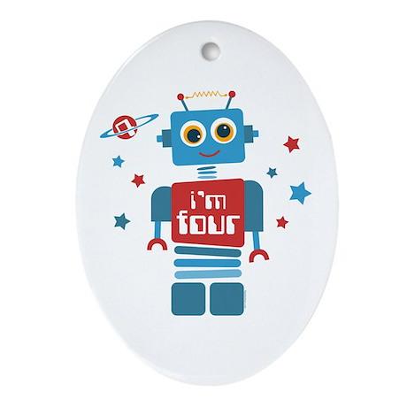 Robot 4th Birthday Ornament (Oval)