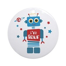 Robot 4th Birthday Ornament (Round)
