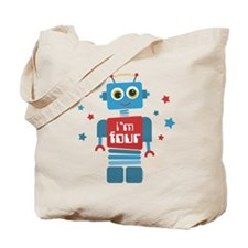 Robot 4th Birthday Tote Bag