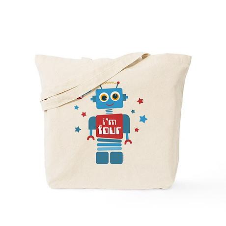 Robot 4th Birthday Tote Bag