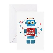 Robot 4th Birthday Greeting Card