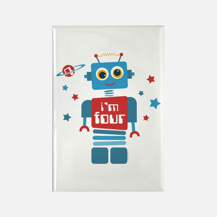 Robot 4th Birthday Rectangle Magnet