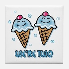 Ice Cream We're 2 Boys Tile Coaster