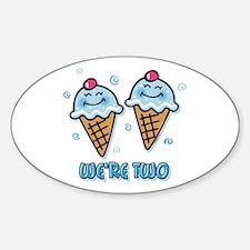 Ice Cream We're 2 Boys Sticker (Oval)