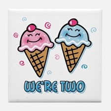 Ice Cream We're 2 Boy & Girl Tile Coaster