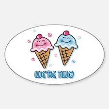 Ice Cream We're 2 Boy & Girl Sticker (Oval)