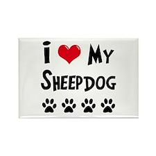 I Love My Sheepdog Rectangle Magnet (10 pack)