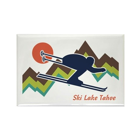 Ski Lake Tahoe Rectangle Magnet