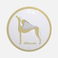CHESSIE ANGEL GREY ROUND ORNAMENT