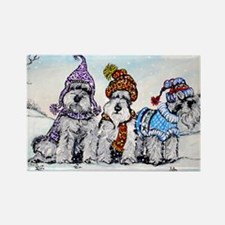 Schnauzer Winter Holiday Rectangle Magnet