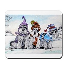 Schnauzer Winter Holiday Mousepad