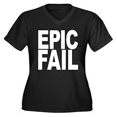 Epic Fail Women's Plus Size V-Neck Dark T-Shirt