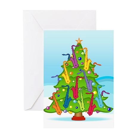 Saxophone Christmas Greeting Card