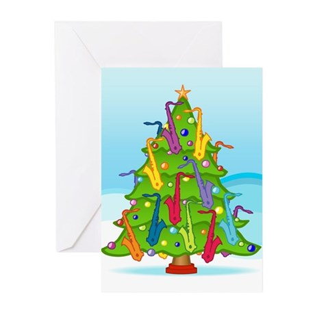 Saxophone Christmas Greeting Cards (Pk of 20)