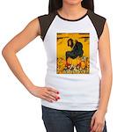 Witch On Pumpkin Women's Cap Sleeve T-Shirt