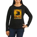 Witch On Pumpkin Women's Long Sleeve Dark T-Shirt