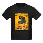 Witch On Pumpkin Kids Dark T-Shirt