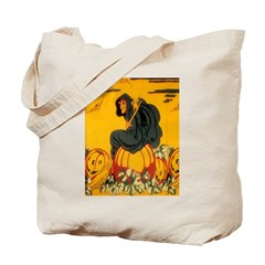 Witch On Pumpkin Tote Bag