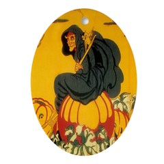 Witch On Pumpkin Ornament (Oval)