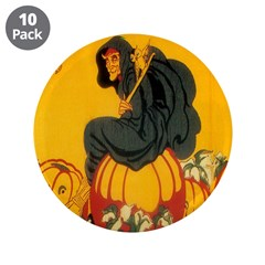 """Witch On Pumpkin 3.5"""" Button (10 pack)"""