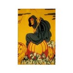 Witch On Pumpkin Rectangle Magnet (10 pack)