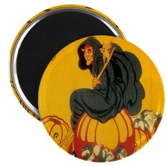Witch On Pumpkin Magnet
