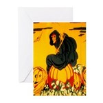 Witch On Pumpkin Greeting Cards (Pk of 10)