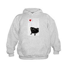 """""""Love Me"""" Black pug Hoodie"""