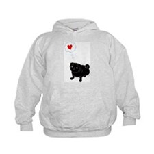 """Love Me"" Black pug Hoody"