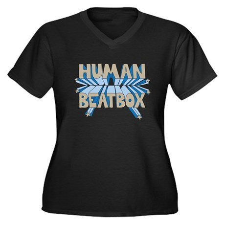 Human Beatbox Women's Plus Size V-Neck Dark T-Shir