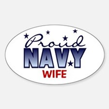 Proud Navy Wife Oval Decal