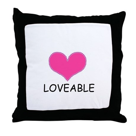 LOVEABLE PINK HEARTThrow Pillow