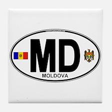 Moldova Euro Oval Tile Coaster