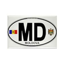 Moldova Euro Oval Rectangle Magnet