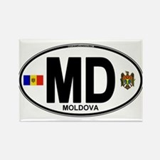 Moldova Euro Oval Rectangle Magnet